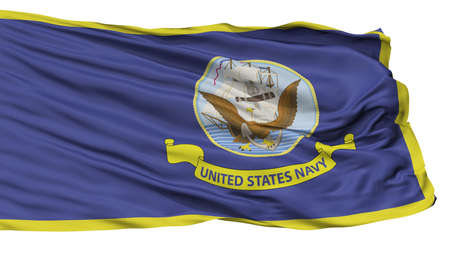 United States Navy Official Specifications Flag, Isolated On White Background, 3D Rendering