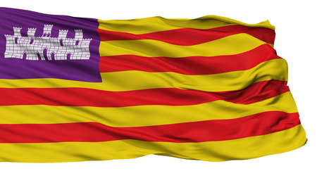 Balearic Islands Flag, Isolated On White Background, 3D Rendering Stock Photo