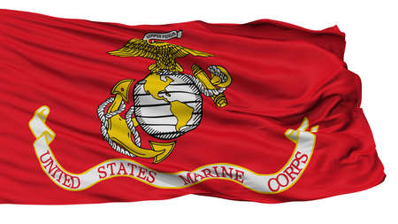 United States Marine Corps Flag, Isolated On White Background, 3D Rendering 写真素材