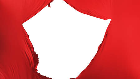 Cracked Red color flag, white background, 3d rendering