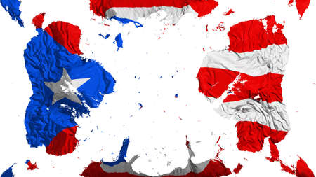 Scattered Puerto Rico state flag, white background, 3d rendering