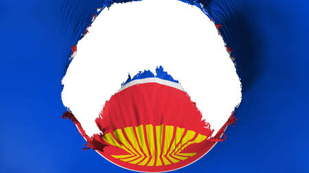 Big hole in Association of South East Asian Nations flag, white background, 3d rendering