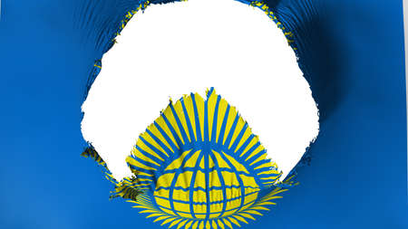 Big hole in Commonwealth of Nations flag, white background, 3d rendering