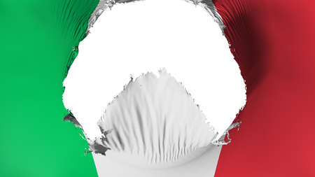 Big hole in Italy flag, white background, 3d rendering