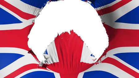 Big hole in United Kingdom UK flag, white background, 3d rendering