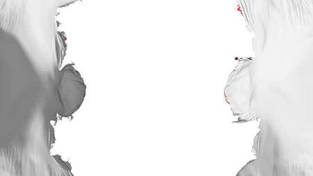 Blasted Panama city flag, against white background, 3d rendering