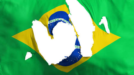 Ragged Brazil flag, white background, 3d rendering
