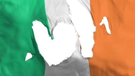 Ragged Ireland flag, white background, 3d rendering Imagens - 125324796