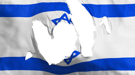 Ragged Israel flag, white background, 3d rendering