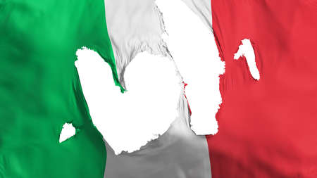 Ragged Italy flag, white background, 3d rendering Imagens - 125324798