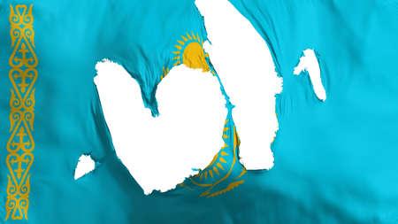 Ragged Kazakhstan flag, white background, 3d rendering
