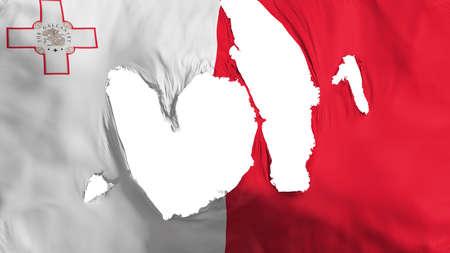 Ragged Malta flag, white background, 3d rendering