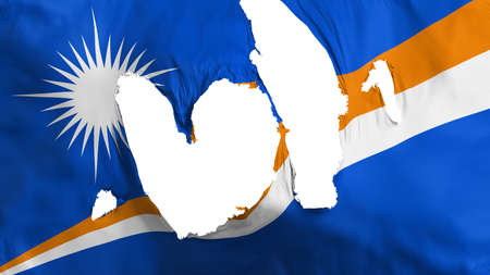 Ragged Marshall Islands flag, white background, 3d rendering Imagens - 125324802