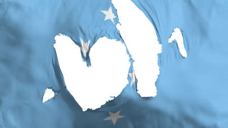 Ragged Micronesia flag, white background, 3d rendering Imagens - 125324805