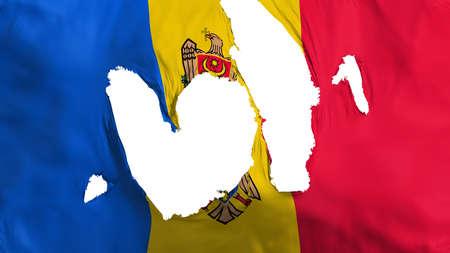 Ragged Moldova flag, white background, 3d rendering Imagens - 125324806