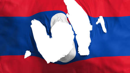 Ragged Laos flag, white background, 3d rendering