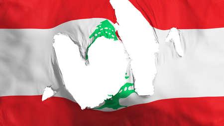 Ragged Lebanon flag, white background, 3d rendering Imagens