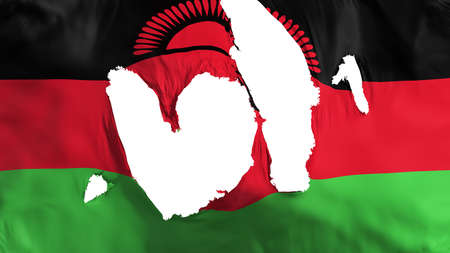 Ragged Malawi flag, white background, 3d rendering Imagens - 125324810
