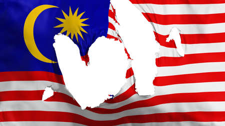 Ragged Malaysia flag, white background, 3d rendering Imagens - 125324811
