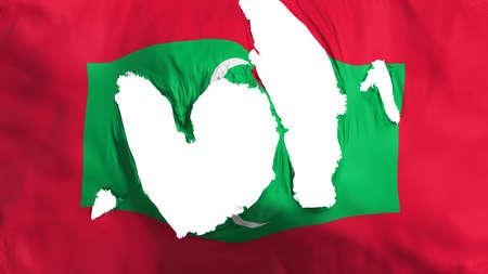 Ragged Maldives flag, white background, 3d rendering