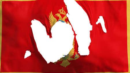 Ragged Montenegro flag, white background, 3d rendering Imagens - 125324813