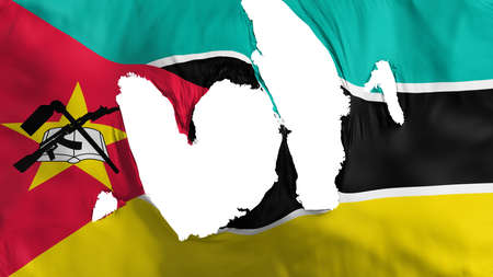 Ragged Mozambique flag, white background, 3d rendering