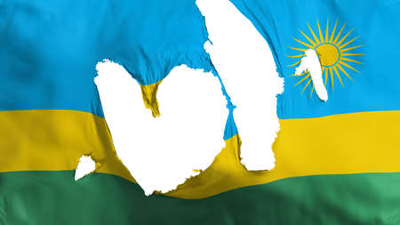 Ragged Rwanda flag, white background, 3d rendering
