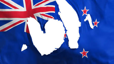 Ragged New Zealand flag, white background, 3d rendering Imagens - 125324819