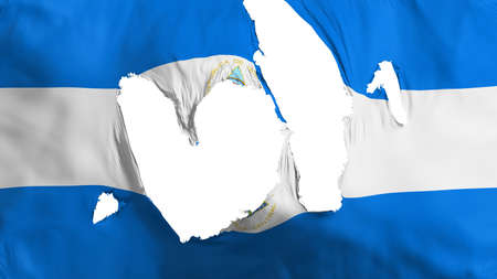 Ragged Nicaragua flag, white background, 3d rendering Imagens - 125324821
