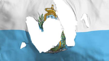Ragged San Marino flag, white background, 3d rendering Imagens - 125324824