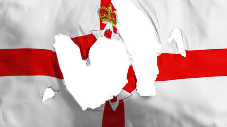 Ragged Northern Ireland flag, white background, 3d rendering Imagens