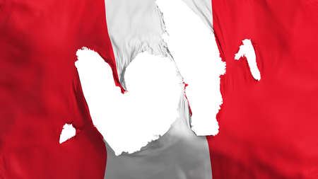 Ragged Peru flag, white background, 3d rendering Imagens - 125324827