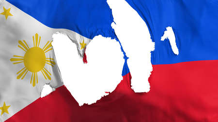 Ragged Philippines flag, white background, 3d rendering
