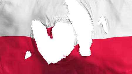 Ragged Poland flag, white background, 3d rendering Imagens - 125324829