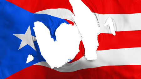 Ragged Puerto Rico flag, white background, 3d rendering Imagens - 125324830