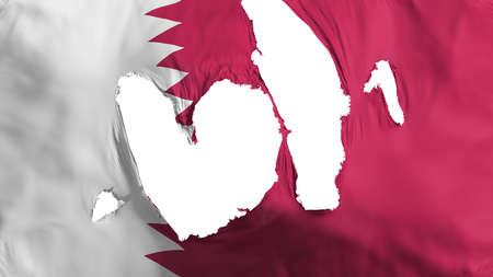 Ragged Qatar flag, white background, 3d rendering