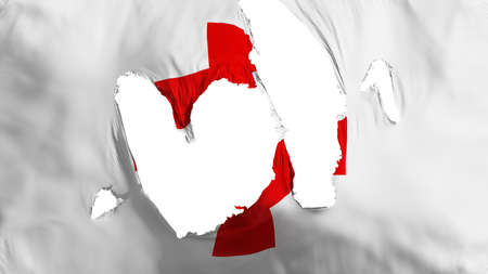 Ragged Red Cross flag, white background, 3d rendering Imagens - 125324832