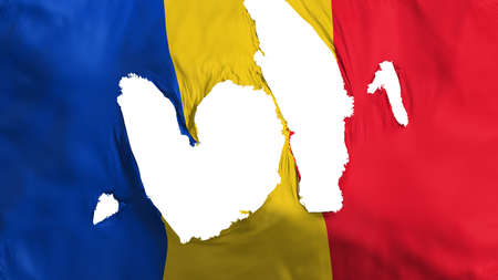 Ragged Romania flag, white background, 3d rendering