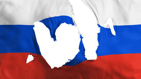 Ragged Russia flag, white background, 3d rendering Imagens - 125324834