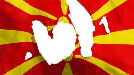 Ragged Macedonia flag, white background, 3d rendering