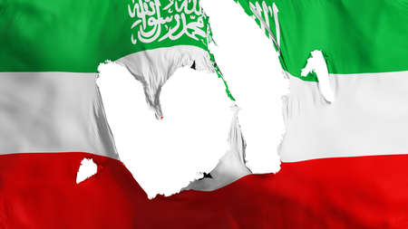 Ragged Somaliland flag, white background, 3d rendering