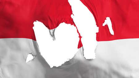 Ragged Monaco flag, white background, 3d rendering Imagens