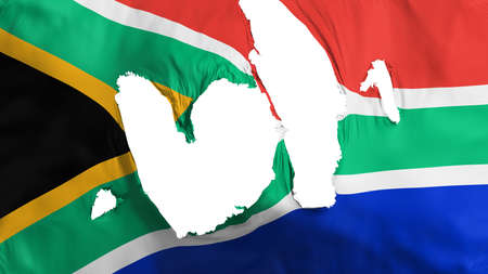 Ragged South Africa flag, white background, 3d rendering Imagens
