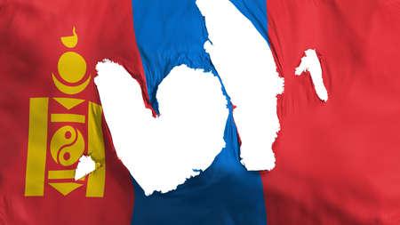 Ragged Mongolia flag, white background, 3d rendering