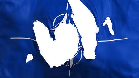 Ragged North Atlantic Treaty Organization flag, white background, 3d rendering