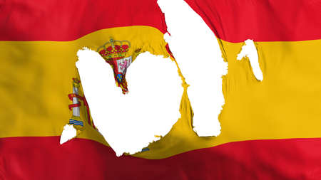 Ragged Spain flag, white background, 3d rendering Imagens