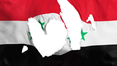Ragged Syria flag, white background, 3d rendering Imagens - 125324862