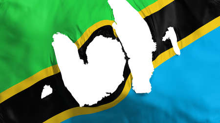Ragged Tanzania flag, white background, 3d rendering