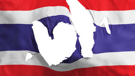 Ragged Thailand flag, white background, 3d rendering Imagens - 125324864