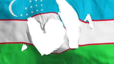 Ragged Uzbekistan flag, white background, 3d rendering